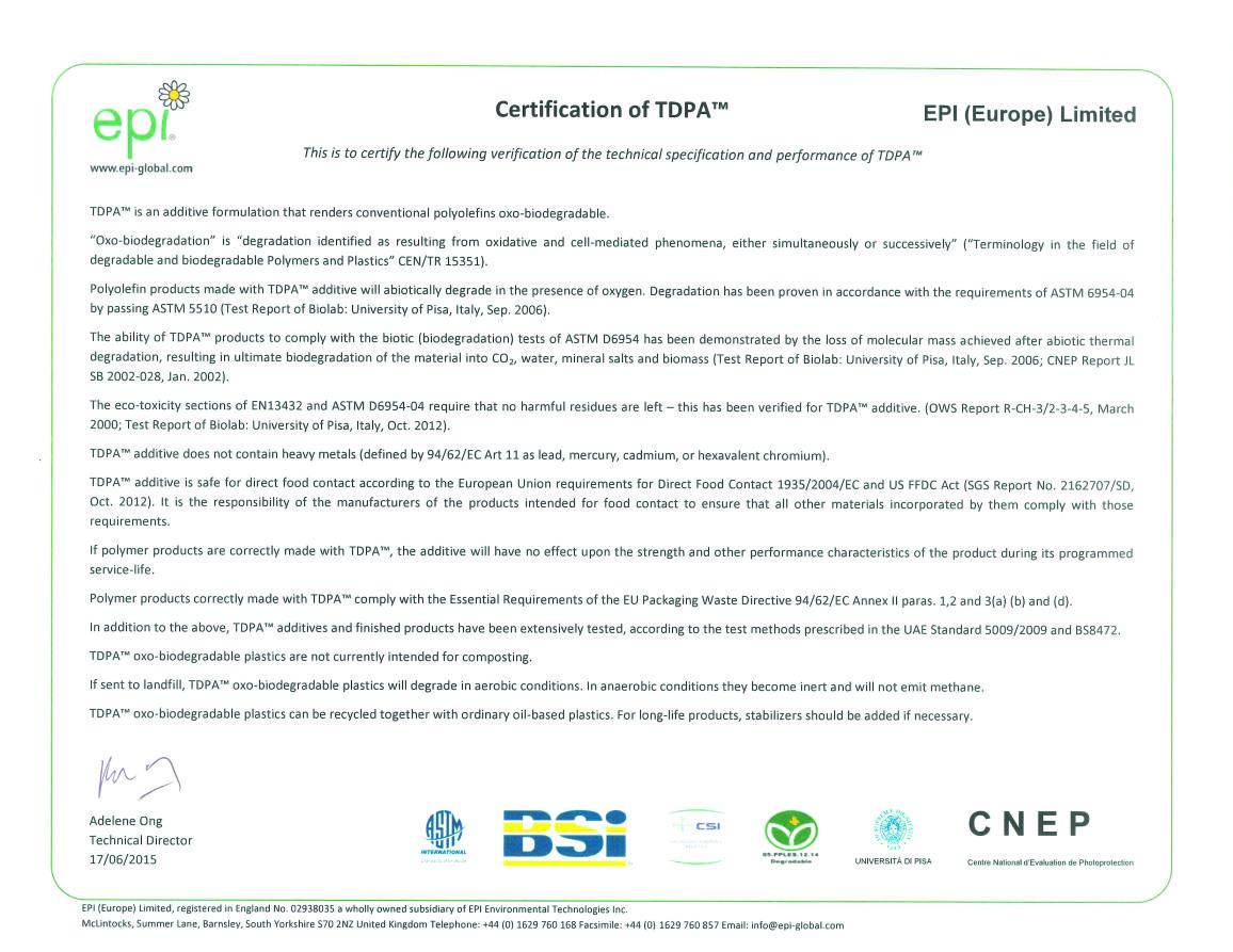 Certyfikat biodegradowalności